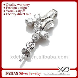 XD E225 925 sterling silver lucky flowers semi jewels mounting jewelry settings and mountings sterling silver