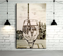 Handmade Abstract The Eiffel Tower through the wine glass Oil Painting