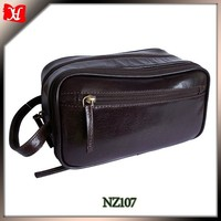 leather travel essentials kit men wash bag with wrist strap cosmetic bag