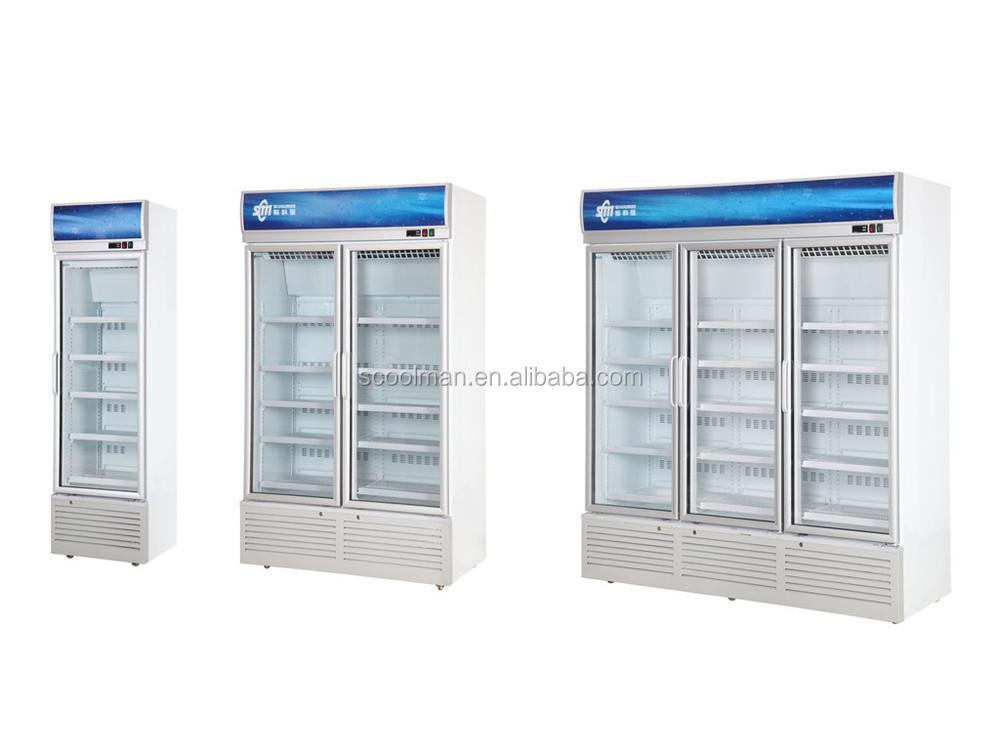 Transparent Glass Door Refrigerator 3 Door Commercial Refrigerator