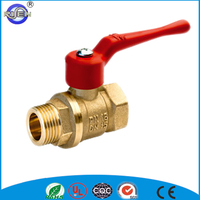 red handle gas full flow DZR brass valve ball