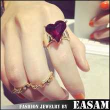 2015 Fashion crystal heart rivet 3-piece ring set