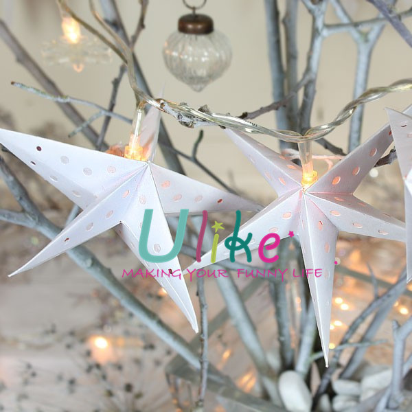 Glitter Star Decorations Metal Lighted Star Christmas Star Shape ...