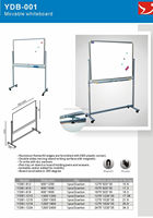 Double sides magnetic mobile white board with wheels magnetic white board with grid lines