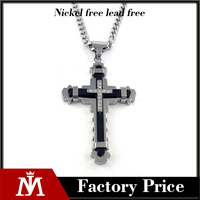 316L stainless steel necklace, mens cross Jesus fashion pendant necklace