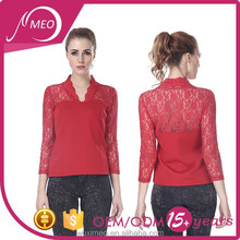women's red lace fancy lace tight blouse