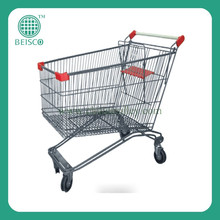 High quality collapsible 4 wheel supermarket mini shopping trolley