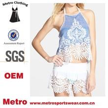 New Fashion OEM Ladies Crochet Halter Cotton Crop tops