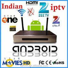 China chip Internet Tv Box Indian Iptv Box 125+ Indian HD zee tv Channels, High Quality indian iptv box