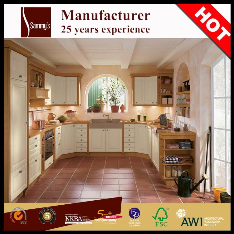 U vorm europese franse landelijke stijl houten keuken kast kast ...