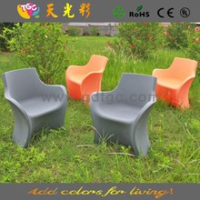 multicolored PE material plastic table and chairs furniture stainless steel base bar stool
