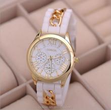 2015 Dress Casual Clock Female Relogio Luxury Quartz Watch Diamond Wristwatches Women Silicone Platinum Chain Fashion Watches