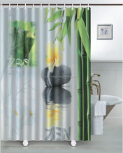 Zen Full size panel screen heat transfer printed fabric shower curtain