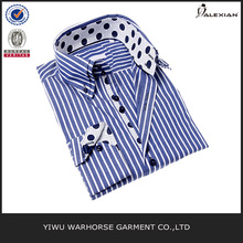 Men's Blue and White Stripe Button-up Sport Shirt