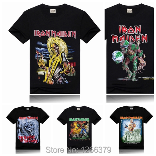 Wholesale iron maiden printing new men t shirt rock band for Group t shirts cheap