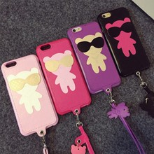 Cute Cartoon Glasses Bear Lanyard PU Leather Case For iPhone 6 6 Plus