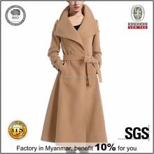 2016 Fasihon Long Wollen Belted Trench Coat, Woman Winter Wool Coat