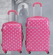 new arrival fashionable white dot travel bag on wheels