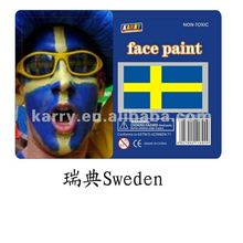 TARGET Audited Supplier,Sweden national flag non-toxic face paint