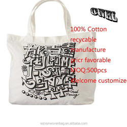 recyclable promotional cotton canvas tote bag