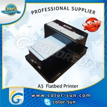 on promotion t-shirt /pen/phone case/pc card/cd disk/wood/glass/leather printing A3 size digital inkjet flatbed printer