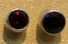 1Pair Garnet Gemstone 925 Silver Studs E58
