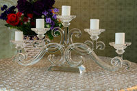 hot sale beautiful glass wrought iron candle holder