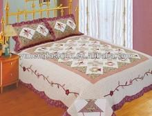 Cotton applique flower quilt sets bedspreads
