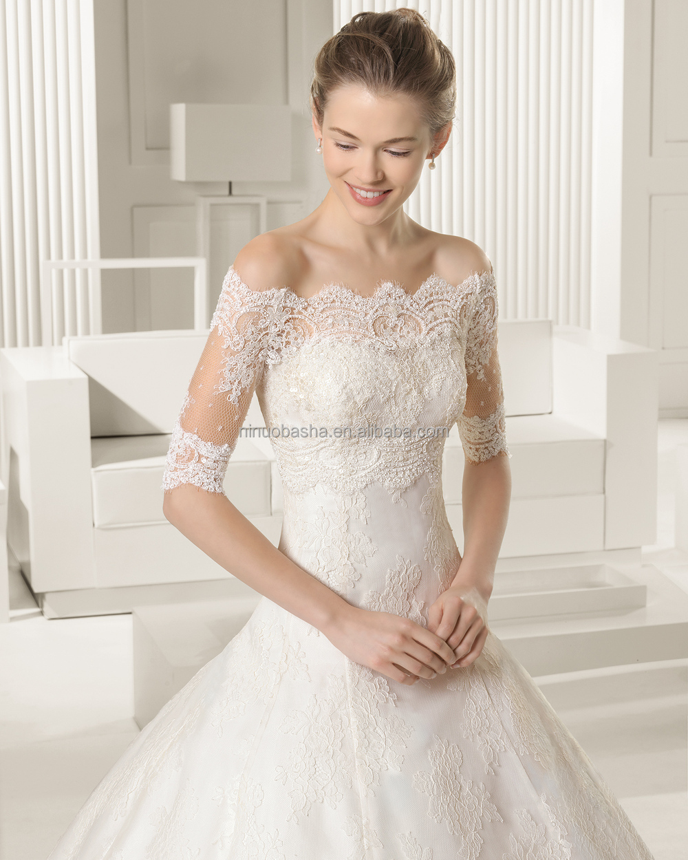 Famous Designer 2015 Lace Ball Gown Wedding Dress With Off-shoulder ...