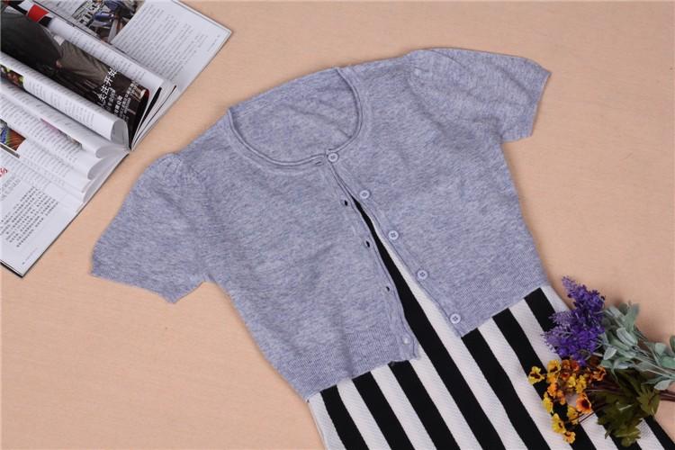 Summer Вязанный свитер for Женщины 2015  Ice Шелк Короткий Рукав Thick кардиган For Girl Hot Женщины's CloТонкийg