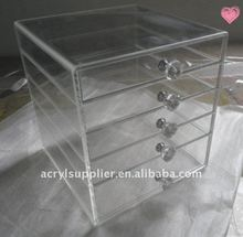 Acrylic Makeup Organizer; Clear Cosmetic Cases with Drawers
