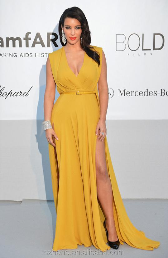W008 Sexy haute Slits col en V jaune robe de soirée en mousseline de soie Kim