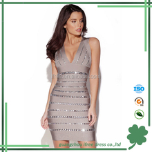 High quality sexy beading shiny bandage dresses for women club night wear
