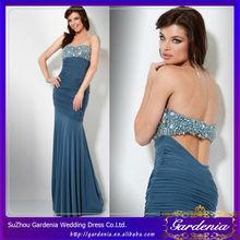 azul marino sirena vestido de novia de baja de la espalda rebordear ruches en árabe por la noche vestidos vestidos de