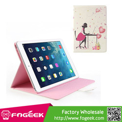 Fast Shipping Fashion Lady Heart Ballons Wake Up / Sleep Rhinestone Leather Case Stand for iPad Air