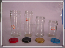 empty jam bottle/glass jame jars with different color cap