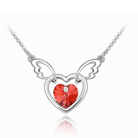 Six Colors Stock Fashion Love Jewelry Heart Crystal Angel Wing Necklace Girls Accessories
