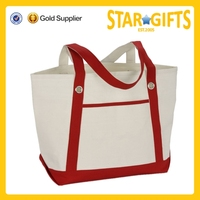 China Wolesale Heavy Duty stylish Cotton Canvas Tote Bag With Front Slip Pocket