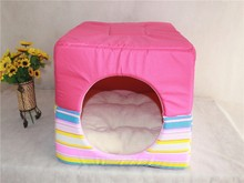 Colorful beautiful color stripe dog kennel Can be dual-use pet Waterloo Convenient folding dog kennel room wholesale