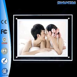 Professional design edge slim led crystal acrylic light poster frame