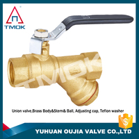 ppr brass cock ball valve three way with polishing high pressure and iron handle ppr with forged