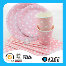 Wholesale Cheap Polka Dot Large Paper Plates For Christmas Day