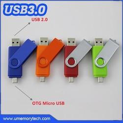 Swivel usb flash drives micro usb mobile phone and computer use 2-1 usb memory sticks cheap
