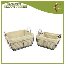 Set of 3 Linned Handecraft Woven Metal Wire Tote Basket