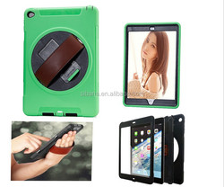 Factory price outdoor waterproof shockproof hard pc + soft tpu case for ipad mini 2 with belt, for ipad mini 2 with stand
