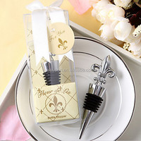 100pcs Chrome Fleur de Lis Wine Bottle Stopper wedding favors guest gifts DHL Freeshipping