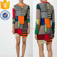 Newest collection long sleeve multicolored Multicoloured virgin wool sweater dress with ribbed round neck dress for women