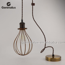 Vintage Cage Pendant Lamp Made By Iron Wire,Copper Pendant Lamp