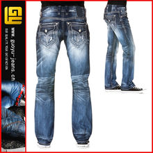 Medium wash straight cut jean true religi designer jeans man jeans denim jeans(GYQ0035)
