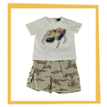 2014 de bebé niña de dibujos animados blanco t camisa de camuflaje y pantalones cortos